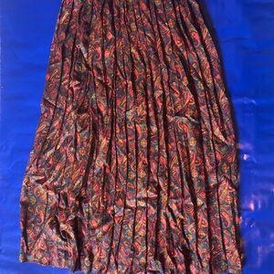 Vintage Paisley Midi Skirt Pleated Bohemian